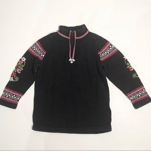 Hanna Andersson Sweater Embroidered Zip Front